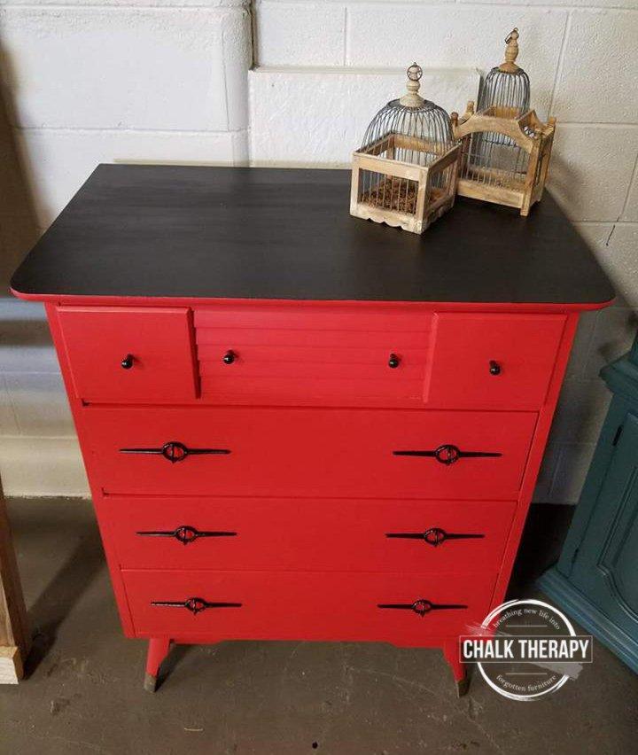 fusion fort york red 4 drawer dresser