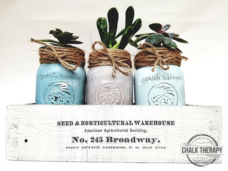 farmers succulent garden box with decor transfer