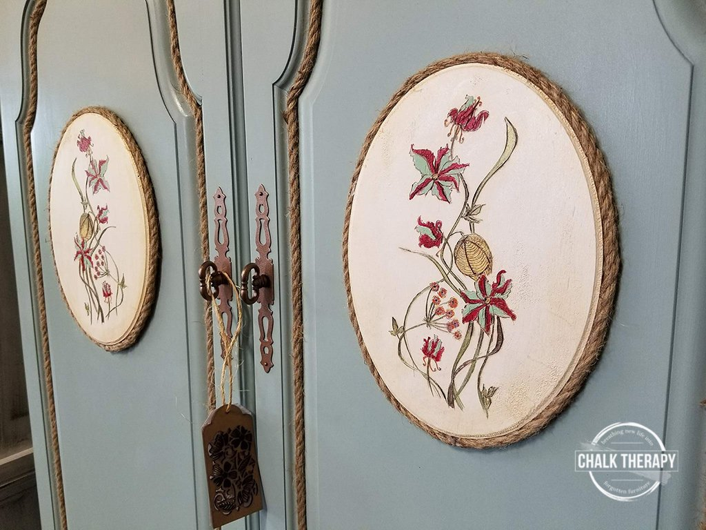 country chic elegance + jitter bug, bronze handles and custom burned/painted wood decor