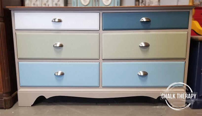 algonquin, champness, lichen, sterling and homestead blue 6 drawer dresser