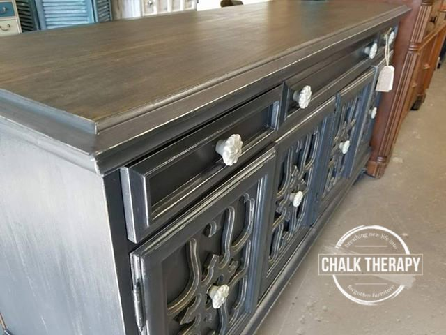 custom dark chalk painted buffet