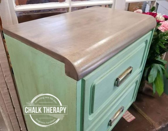 custom mint chalk painted side table