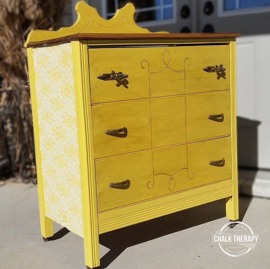 custom chalk painted yellow 3 drawer dresser
