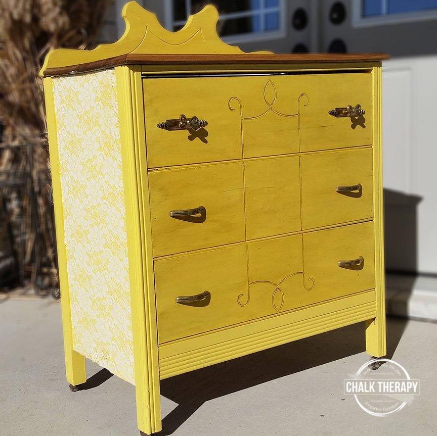 custom chalk painted yellow 3 drawer dresser