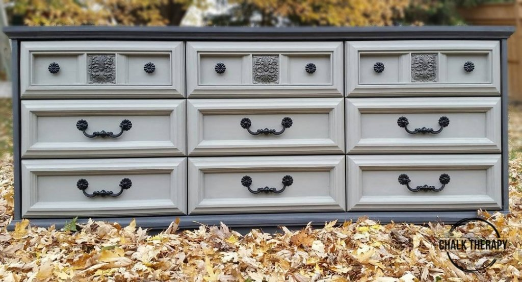 custom grey chalk painted 9 drawer dresser