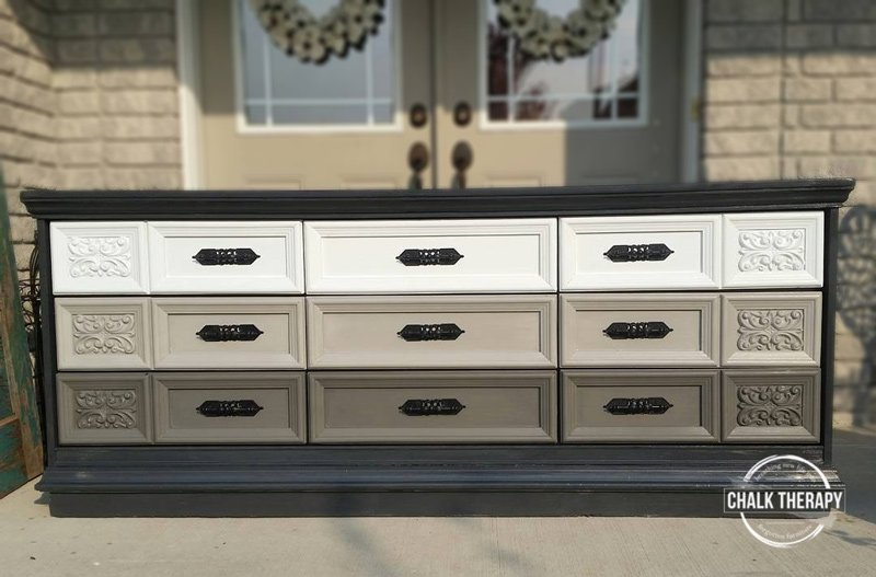custom chalk paint gradient 9 drawer dresser