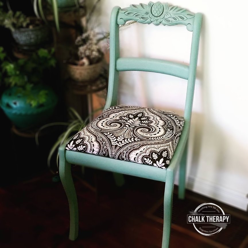 custom green chalk painted chair